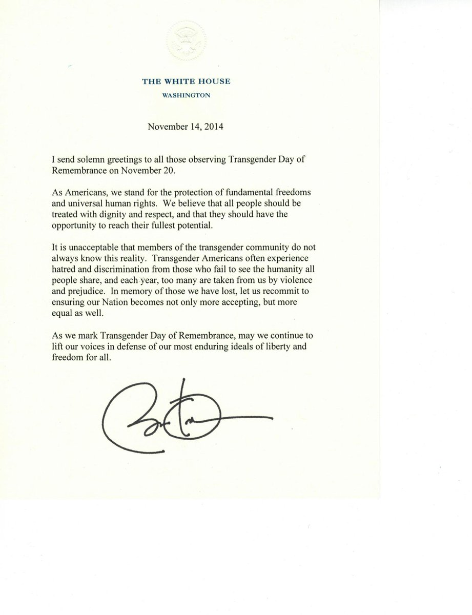 We are grateful to President Obama for this heartfelt message commemorating the Transgender Day of Remembrance. http://t.co/OPc7ulW3J5