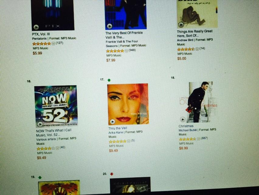 THRU THE VEIL' Breaks the Top 20 in Pop Albums #Amazon Bestsellers!!! At #17 Amazing XOXO