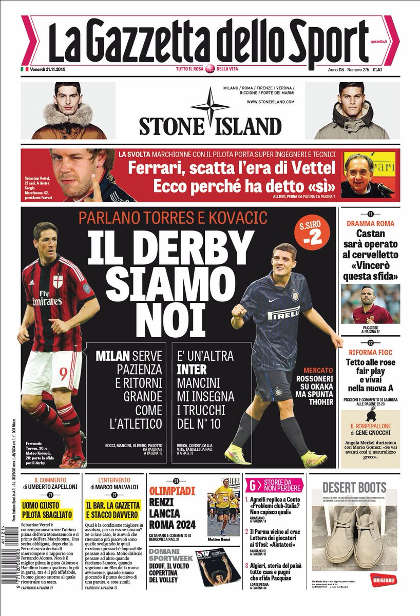 Portada de La Gazzetta dello Sport del 21 de Noviembre de 2014