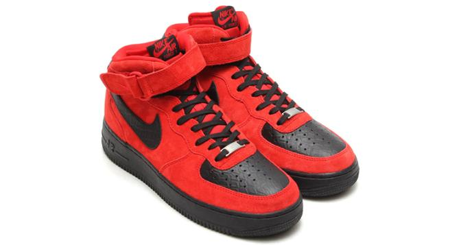 new concept e059b 43795 nike air force 1 mid red suede black python