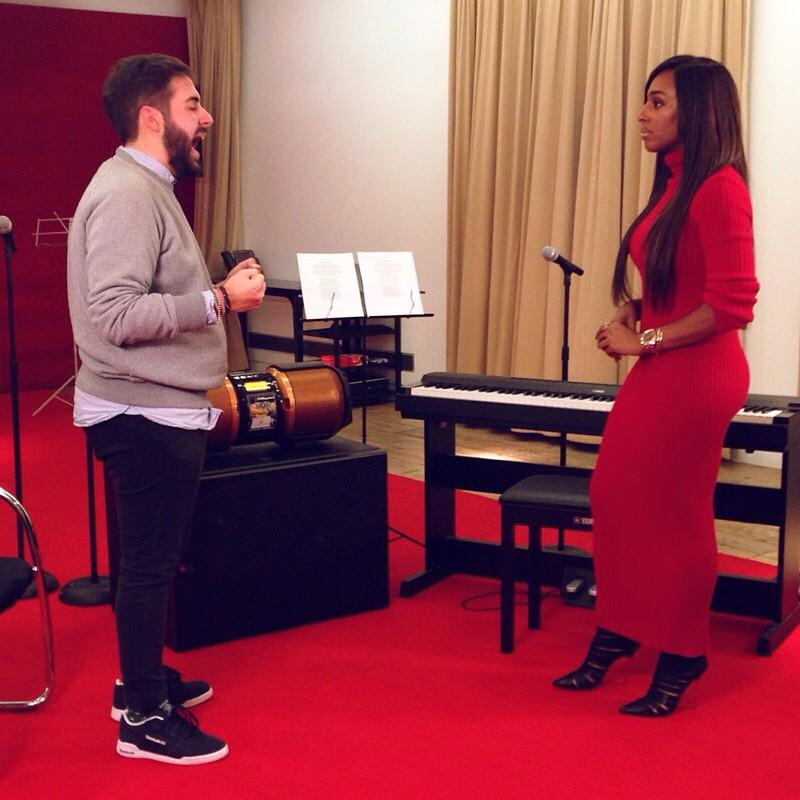 RT @feedlimmy: At the filming for #XFactor, @alexandramusic giving @AndreaFaustini1 some tips for this week's #WhitneyHouston number http:/…