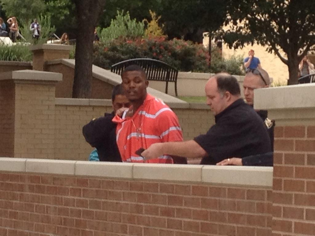 Suspect being arrested by police for suspicion of a gun threat #TXST #SMTX http://t.co/6PAnSVz0ek