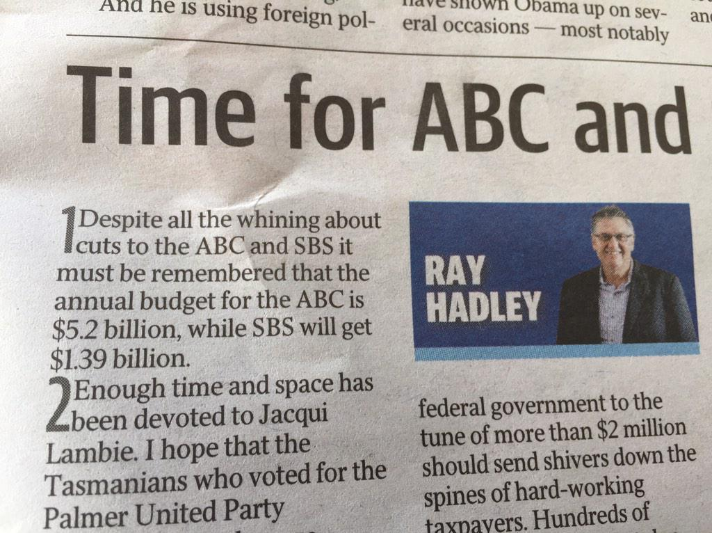 Budget problems solved! Ray Hadley found more than $4 billion in our budget I didn't know was there. http://t.co/BzwSGHIsAQ