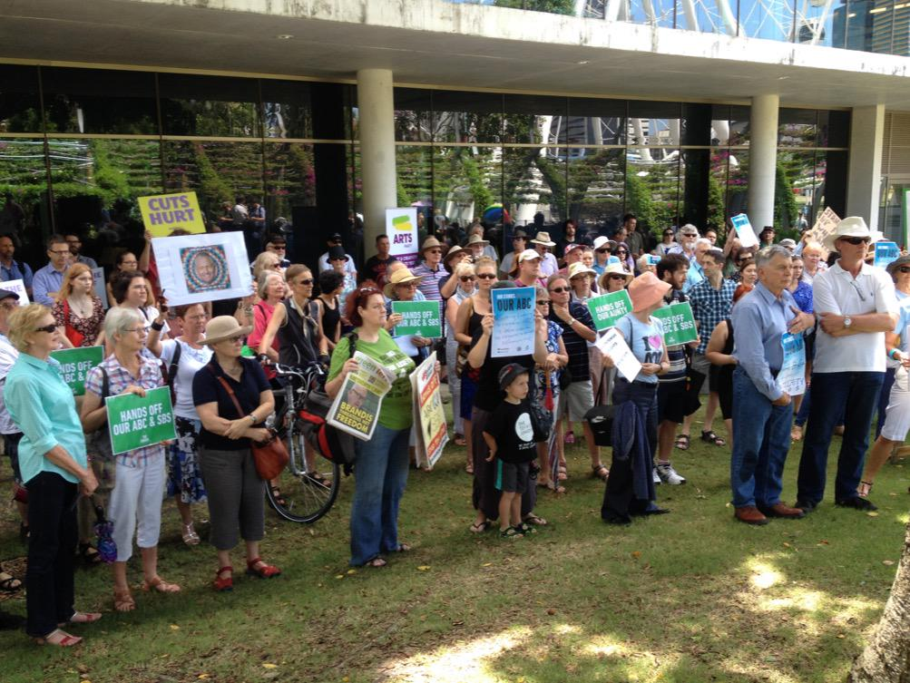 Rally in Brisbane  against ABC cuts #ourabc http://t.co/ce9sf19Hvz