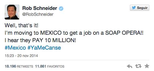 "Sobre la ""casa blanca"" el actor Rob Schneider tuiteó que viene a México porque pagan millones http://t.co/Id4H7ojBVv http://t.co/JyBjJ5cbdg"
