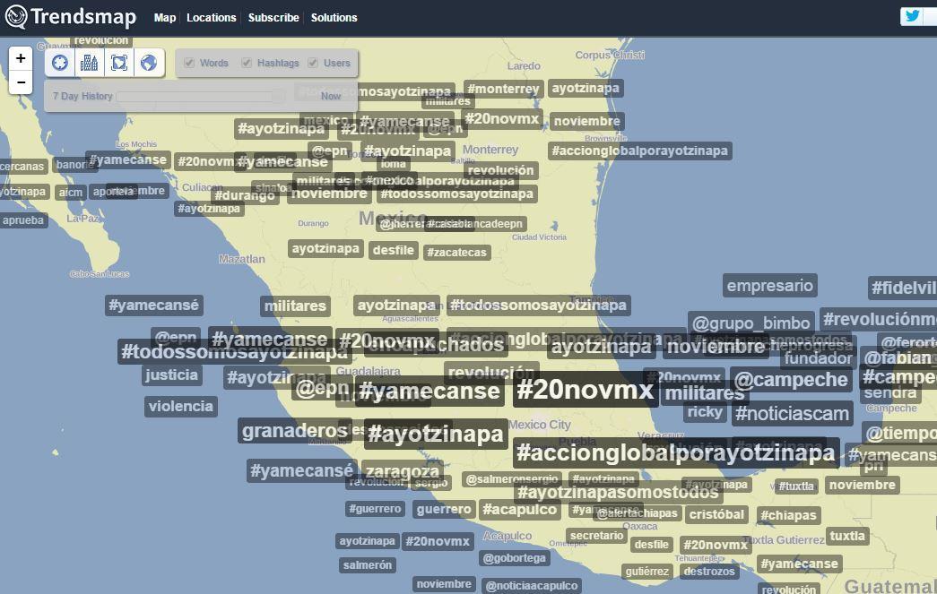 """No son sólo unos cuantos """"revoltosos"""", aquí el mapa de lo que se habla en TODO México #20NovMx #YaMeCanse http://t.co/fBPExn3fHb"""