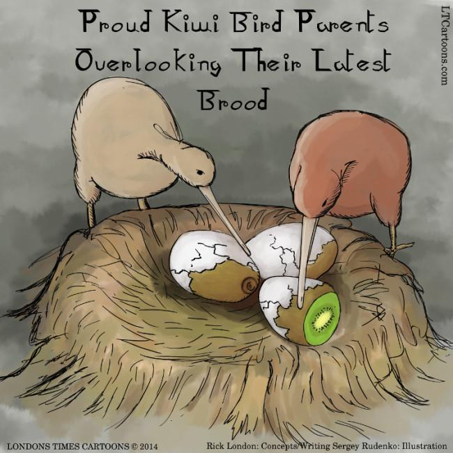 #Kiwis by @LTCartoons #humor #funny #cartoon #comic #kiwibird #kiwifruit #bizarre #offbeatcartoon #ltcartoon https://t.co/bERzELNBEJ