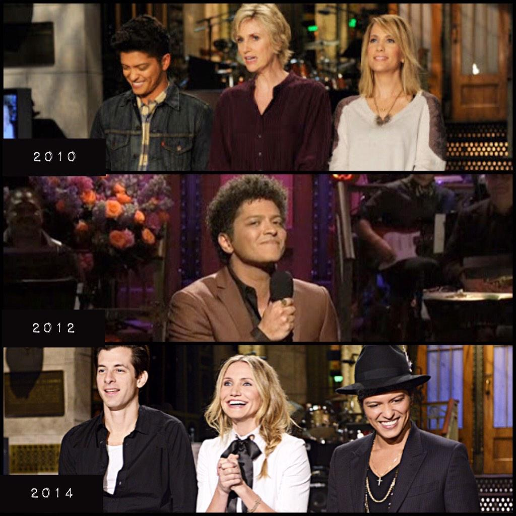 Bruno Mars #SNL promo through the years!  2010, 2012 & 2014  ❤️ @nbcsnl @brunomars http://t.co/HqHw3OAm8z