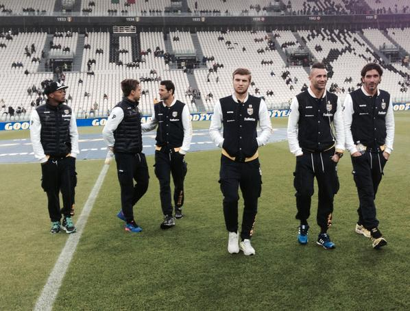 Ristovski and teammates observe the Juventus stadium