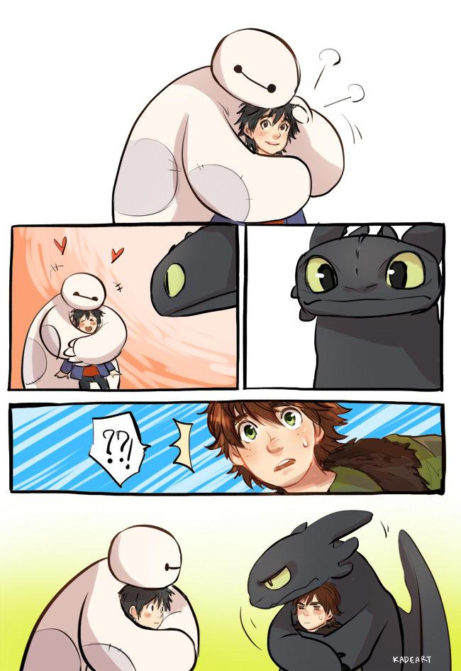 baymax-hiro vs toothless-hiccup
