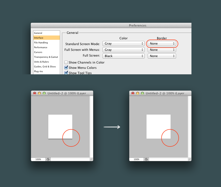 Oh, I just found out that you can disable annoying drop shadow in document's window in Photoshop http://t.co/VhXAIUWYJp