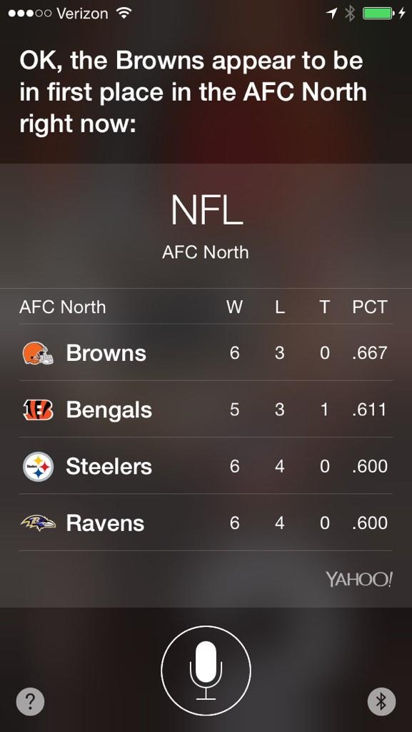 Siri just made it official. #FirstPlaceBrowns http://t.co/jQkwVCiFOA