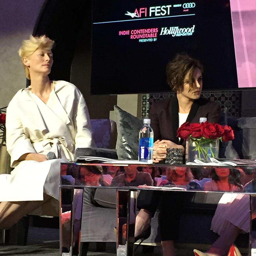 #TildaSwinton and #KristenStewart at the #IndieContendersRoundtable #AFIFEST http://t.co/mOsaBTh75z