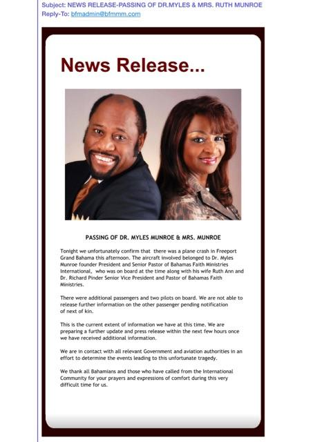 Official Statement from Dr. Myles Munroe's Church: http://t.co/3kJjgKUw0O