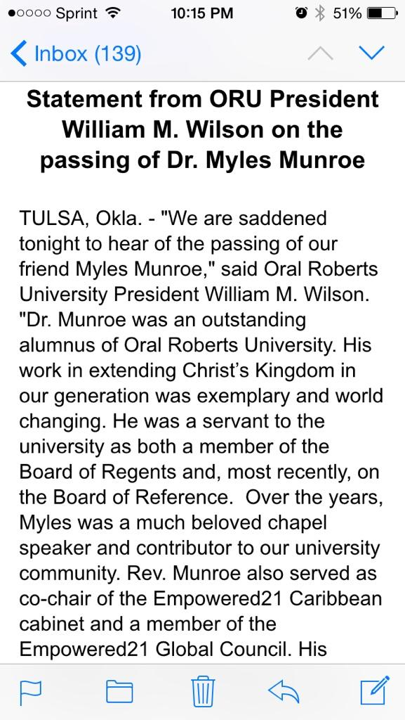 Here's a statement from @OralRobertsU on the death of faith leader Myles Munroe, a Bahamas native and ORU alumnus http://t.co/crzorwwpDc