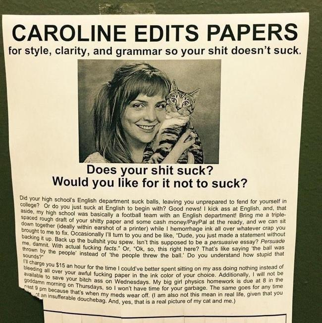 "God bless Caroline, who edits your papers ""so your shit doesn't suck."" http://t.co/kyP9lQjAoD"