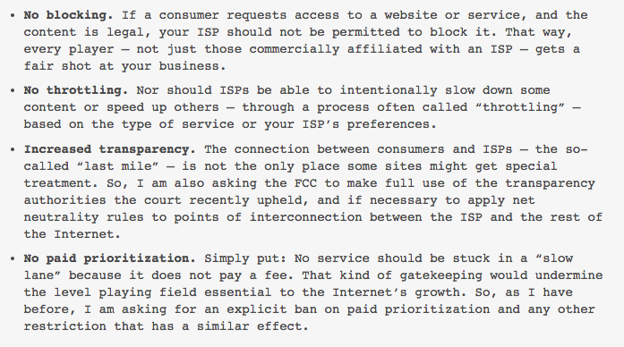 No blocking, no paid prioritization, no throttling. New from @BarackObama on net neutrality: http://t.co/hFBUxRVj4T http://t.co/n8ObnpUjJn