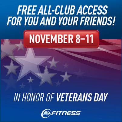 You can still join us for free workouts in honor of Veterans Day! Invite your friends & enjoy access to our clubs. http://t.co/nNNlMybx1U