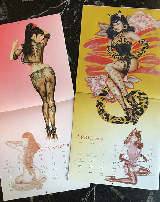 RT @OliviaPinupArt: @BettiePage 2015 calendars are in! http://t.co/Eee5y3SSYs #cat #mouse #meow #Bettie