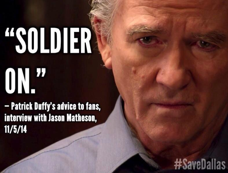 Remember what @therealpduffy told us last week, everyone: Don't give up! #SaveDallas http://t.co/00IS67Lzmw