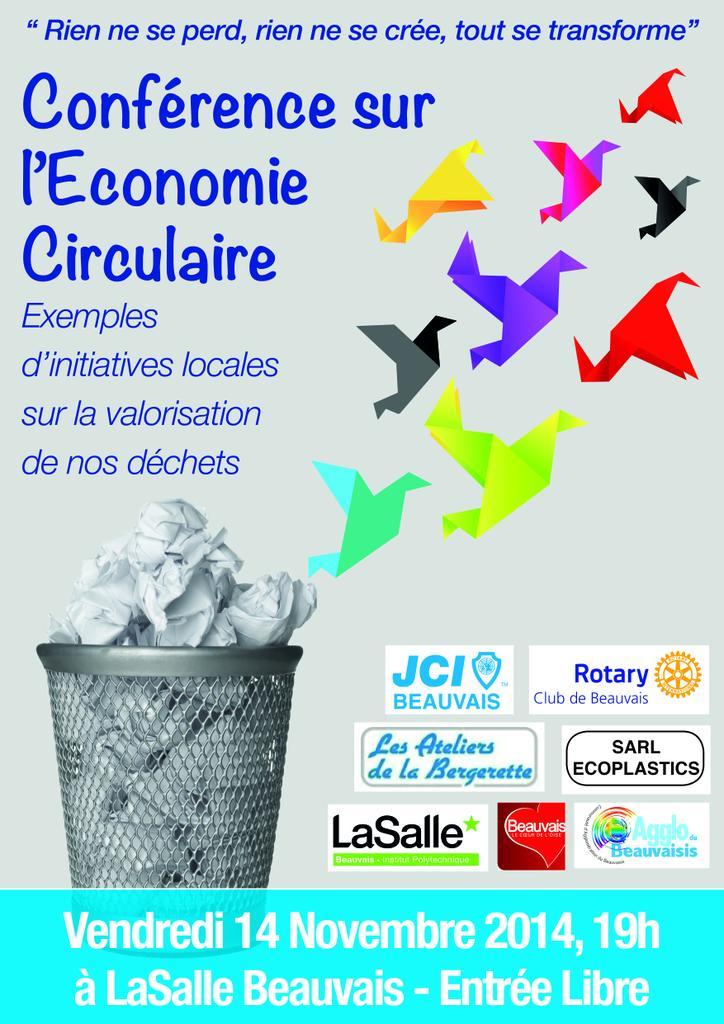 Affiche Economie Circulaire, thème national jcef jce beauvais