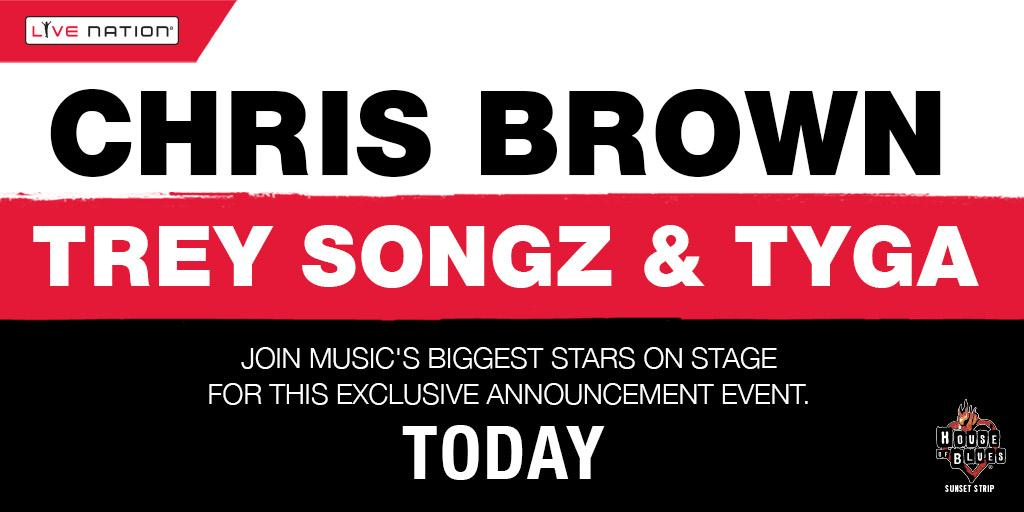 TUNE IN: Watch @chrisbrown w/ @TreySongz & @Tyga's announcement event @HOBSunset 7pm —> http://t.co/s2erOP6J4P http://t.co/8NCtAjWXCz