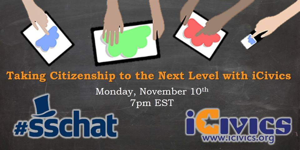 Starting now! MT @mseideman: Join #sschat @ 7pm EST! Taking Citizenship to next level w/ @icivics #sstlap #hsgovchat http://t.co/ZyE1fe9xdA
