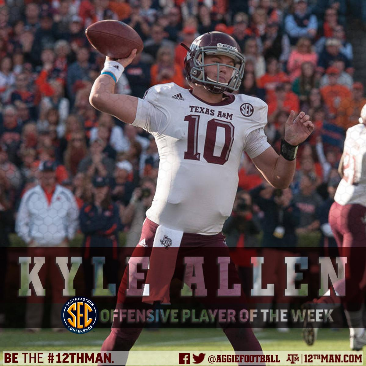 texas a m football on twitter kyle allen named sec. Black Bedroom Furniture Sets. Home Design Ideas