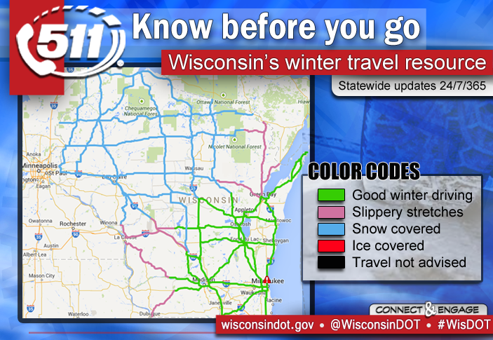 Wisconsin DOT on Twitter TRAVEL INFORMATION Breakdown of color – Wisconsin Travel Conditions Map