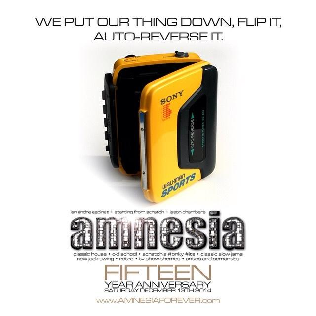 Amnesia 15yr Celebration Sat Dec 13 w/ guest performers @djsfs @ianandreespinet & Me. Adv tix http://t.co/NLDYNxmzY2 http://t.co/YioJqXzbnb