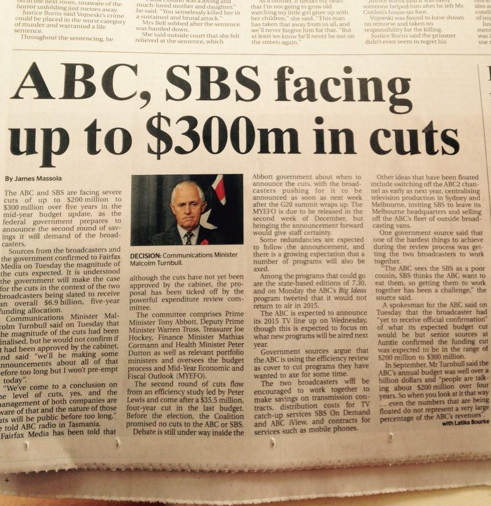 Remember when Tony Abbott promised no cuts to the ABC or SBS? This is today's headline. #brokenpromises #auspol http://t.co/skOOgUGLJd