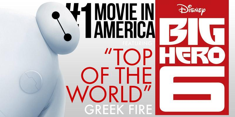 Congrats to #BigHero6 on being the #1 movie in America! Get #TopOfTheWorld now on #iTunes ->  http://t.co/Lhr8NROefr http://t.co/TO4kvMjx6j