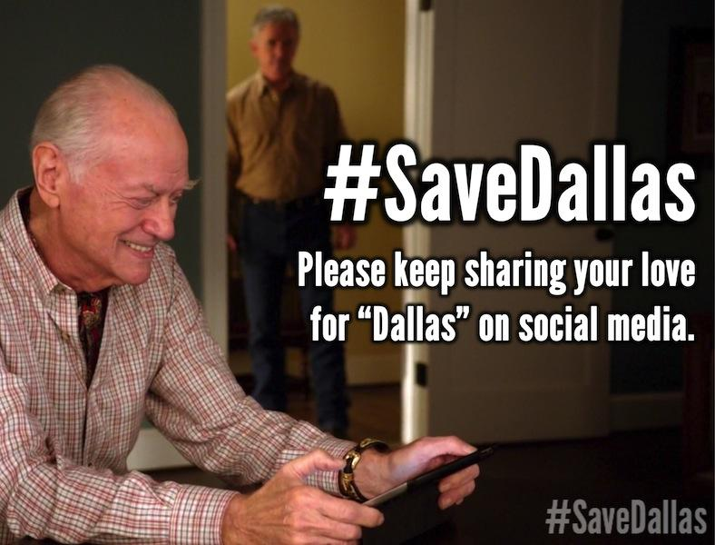 Keep those #SaveDallas tweets coming! Each one is an expression of love for our favorite show. http://t.co/RUdOiNGhea