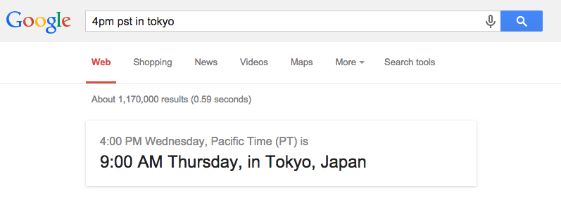 Google search now (finally) does timezone math. :D http://t.co/jsV48seVnX