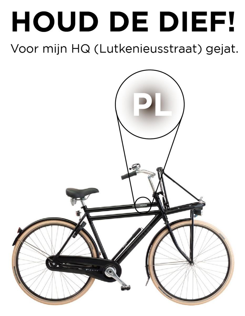 Crap, fiets gejat! Vrij makkelijk te herkennen aan een PL sticker en zwart kratje. RT is tof, vinden nóg toffer. http://t.co/kx6kavbjIH