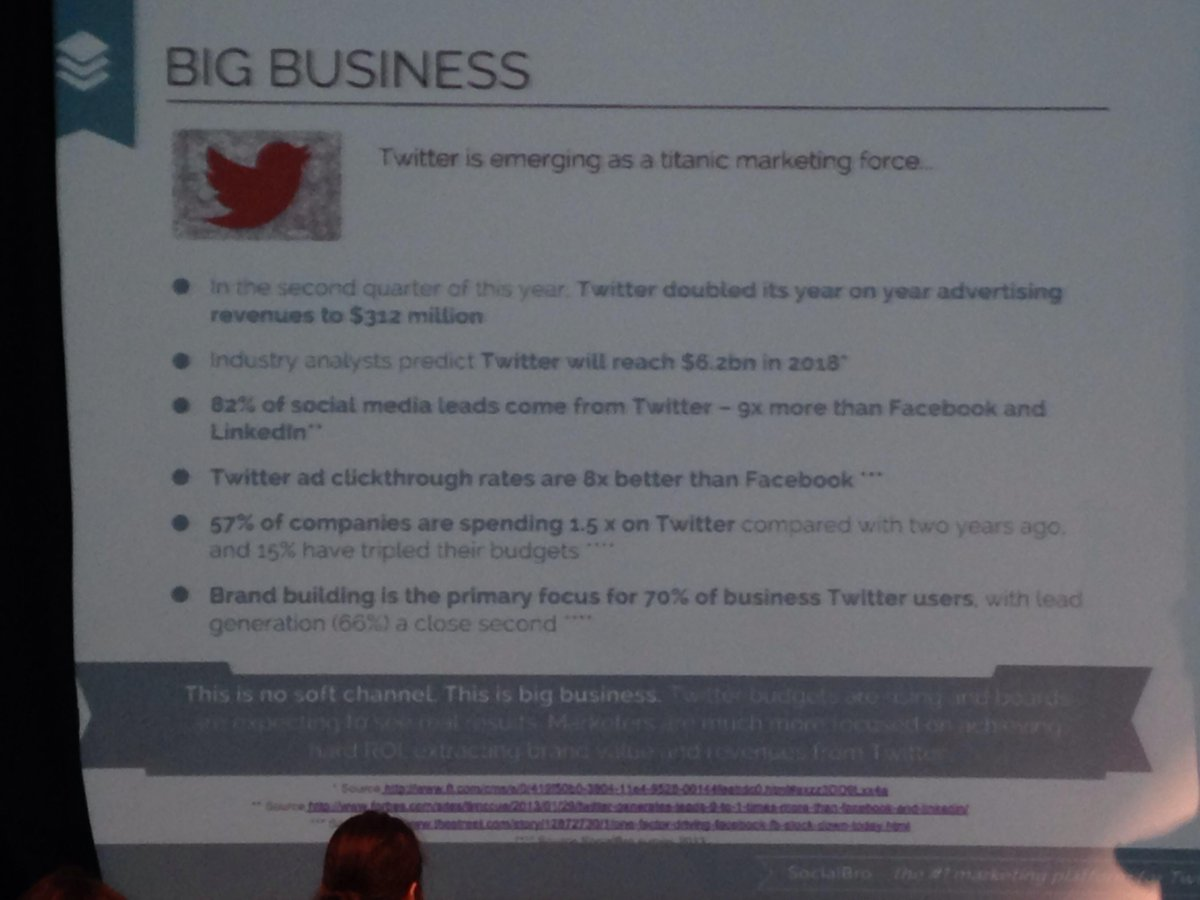 Twitter is no soft channel it's big business @javierburon @SocialBro #smlondon http://t.co/vxWbPppImb