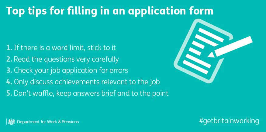 Dwp On Twitter Five Tips When Completing A Job Application Form