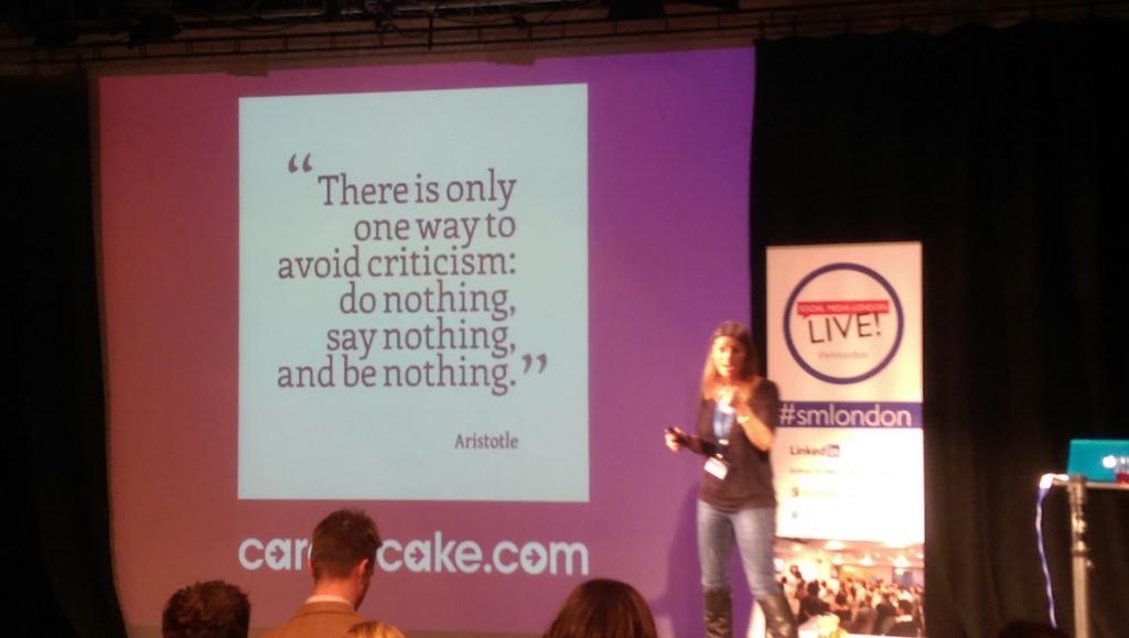 A great final thought from @Aimee_Bateman for life on YouTube and how to avoid criticism: #smlondon. http://t.co/CgmPwkoU8b