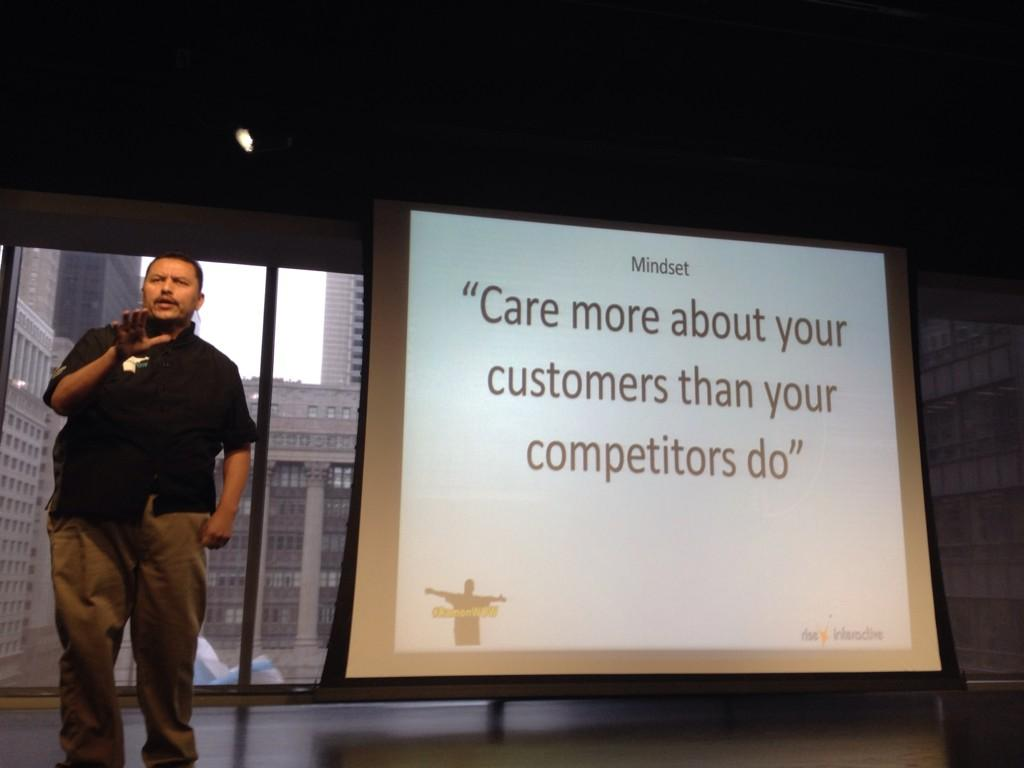 """Love this:  """"Care more about your customers than your competitors do."""" @Ramon_DeLeon #ramonWOW #smms7 http://t.co/tan4uylXi5"""