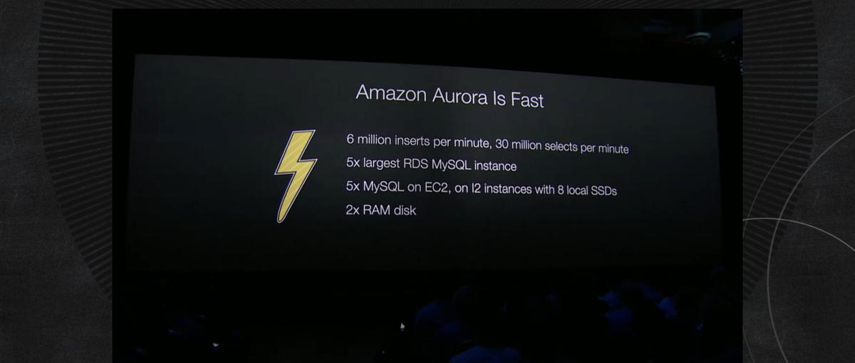 Amazon Aurora performance: holy f--k  #reinvent http://t.co/TYJ6xYZU8O