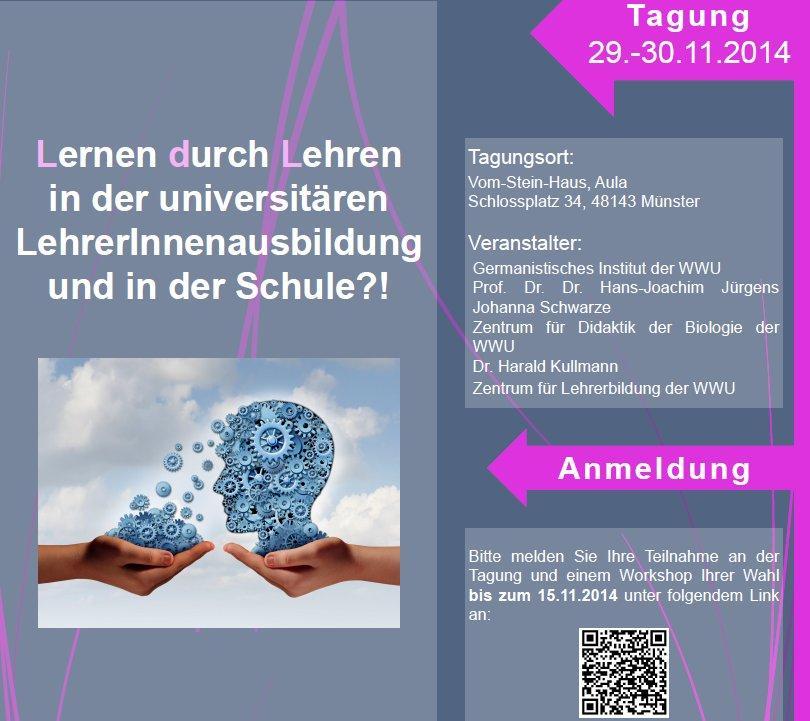 """Tagung zu """"Lernen durch Lehren"""": Münster, 29./30. November - pls RT! #ldl #ldlmooc2 http://t.co/ZEHr3mCTpp http://t.co/GuDu8NsApc"""