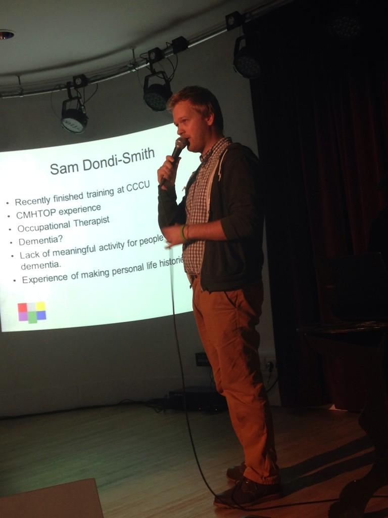Talk 3: Sam Dondi-Smith talking about Interactive Me - an online tool for people with #dementia http://t.co/4TspMzDLLN
