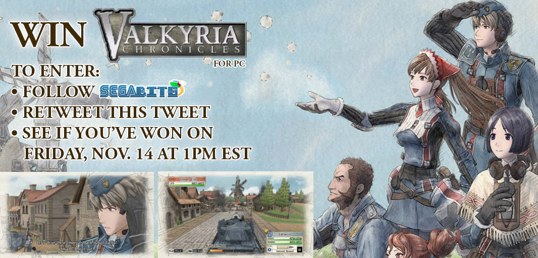 Enter our #ValkyriaChronicles #contest! To enter: Follow @SEGAbits, RT this tweet. Winner announced Friday at 1PM EST http://t.co/YhYjon9LII
