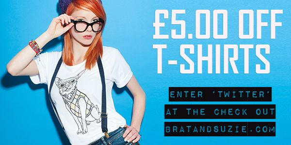 £5.00 OFF ALL T-SHIRTS ONLINE enter 'TWITTER' at the check out - keep going to the very last transaction page. http://t.co/vHAaCzMUGb