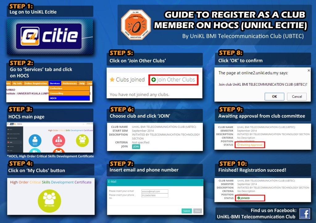 "Nabil Hilman on Twitter: ""Student UniKL BMI perlu tahu. Guide utk register/join kelab guna system HOCS dlm Ecitie #unikl #uniklbmi http://t.co/0QgPgcB3C0"""