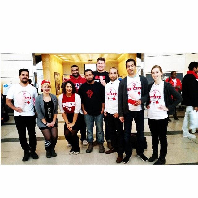 The #yfs execs and #YUGSA execs celebrating Red&White Day! #yorku #YUSpirit  #YUSpiritDay http://t.co/Akegetts3u