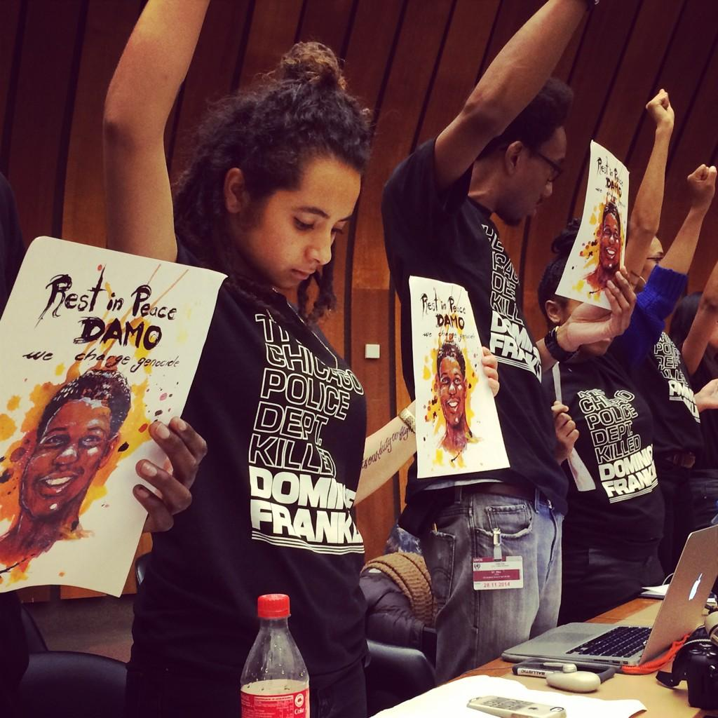 Silent protest during today's #uncat #FergusonToGeneva #DominiqueFranklin http://t.co/nkE0nxI2sc