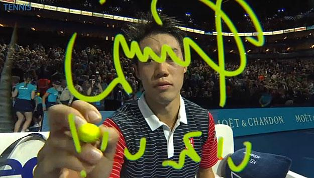 """@TennisTV: Look at that focus! Kei #Nishikori goes to work on signature cam. #tennis #FinalShowdown http://t.co/70WDTwyEul""いえい"