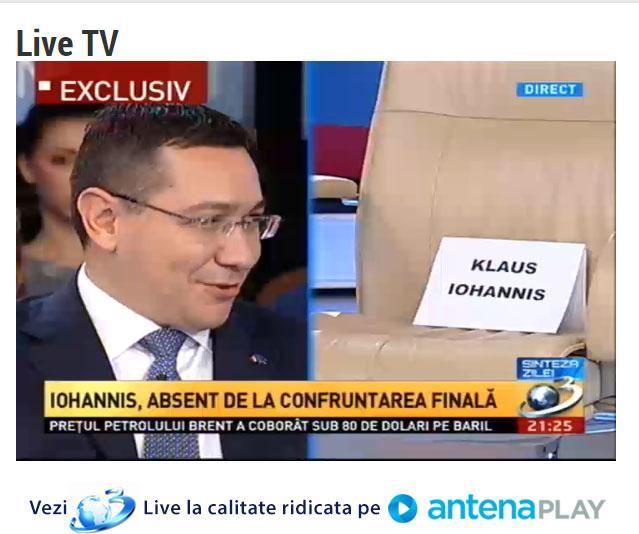 Ponta atent la Iohannis, ca de obicei #dezbatere pic.twitter.com/pTBfliMque