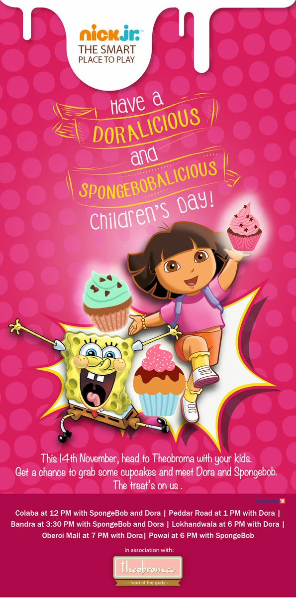 Guys! Head to #Theobroma with your kids today for free Dora and Spongebob cupcakes on the occasion of #ChildrensDay! http://t.co/gObKt8nrzl